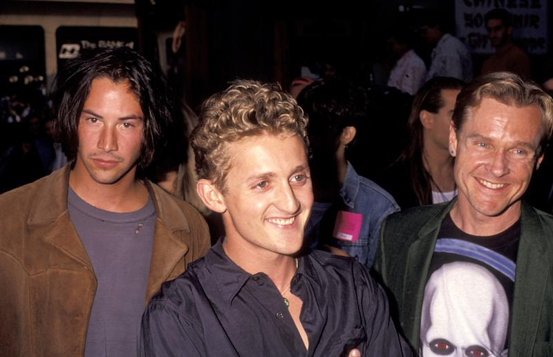 "Keanu Reeves, Alex Winter, and William Sadler during ""Bill & Ted's Bogus Journey"" Hollywood Premiere at Hollywood Palladium in Hollywood, California, United States. (Photo by Ron Galella/Ron Galella Collection via Getty Images)"