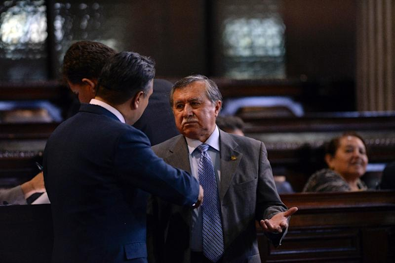 Congressman and retired Colonel Edgar Ovalle (R), accused of crimes against humanity during the 1960-1996 civil war, is seen during a session in the Guatemalan Congress, in Guatemala City on August 2, 2016