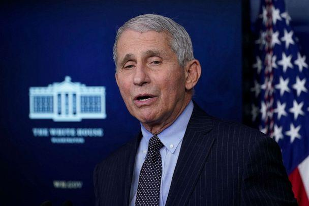 PHOTO: Dr. Anthony Fauci, director of the National Institute of Allergy and Infectious Diseases, speaks with reporters in the James Brady Press Briefing Room at the White House, Jan. 21, 2021. (Alex Brandon/AP)