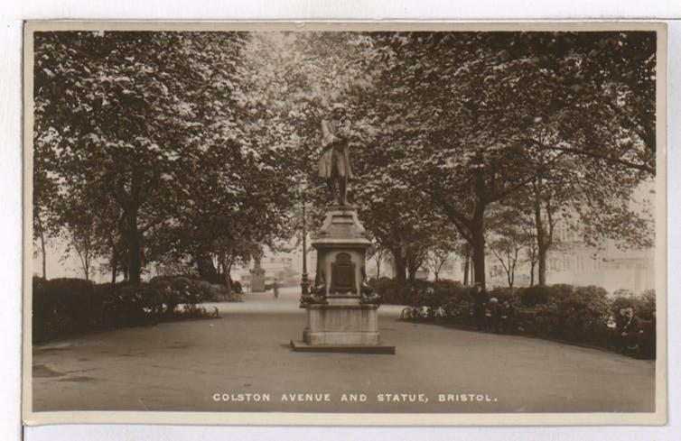 """<span class=""""caption"""">The statue of Edward Colston was erected in Bristol's Colston Avernue in 1895.</span> <span class=""""attribution""""><a class=""""link rapid-noclick-resp"""" href=""""http://archives.bristol.gov.uk/Record.aspx?src=CalmView.Catalog&id=43207%2f26%2f1%2f12&pos=4"""" rel=""""nofollow noopener"""" target=""""_blank"""" data-ylk=""""slk:Bristol Archives"""">Bristol Archives</a></span>"""