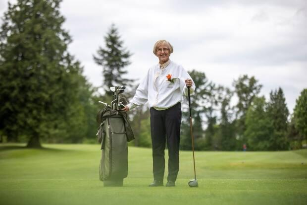 Colbourne, 85, at the Burnaby Mountain Golf Course. Colbourne is one of the longest-standing members of the Burnaby Mountain Ladies' Golf Club.