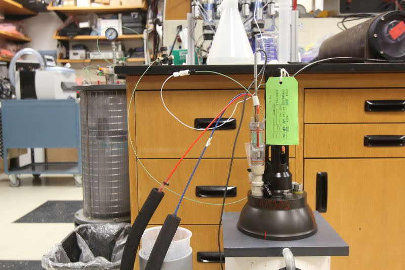 A device used to calibrate a nitrate sensor is seen in a laboratory at the Monterey Bay Aquarium Research Institute in Moss Landing