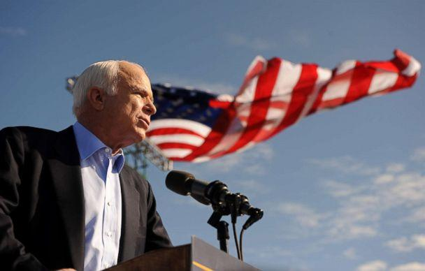 PHOTO: Sen. John McCain speaks at a campaign rally at Raymond James Stadium in Tampa, Florida, Nov. 3, 2008. (Robyn Beck/AFP/Getty Images, FILE)