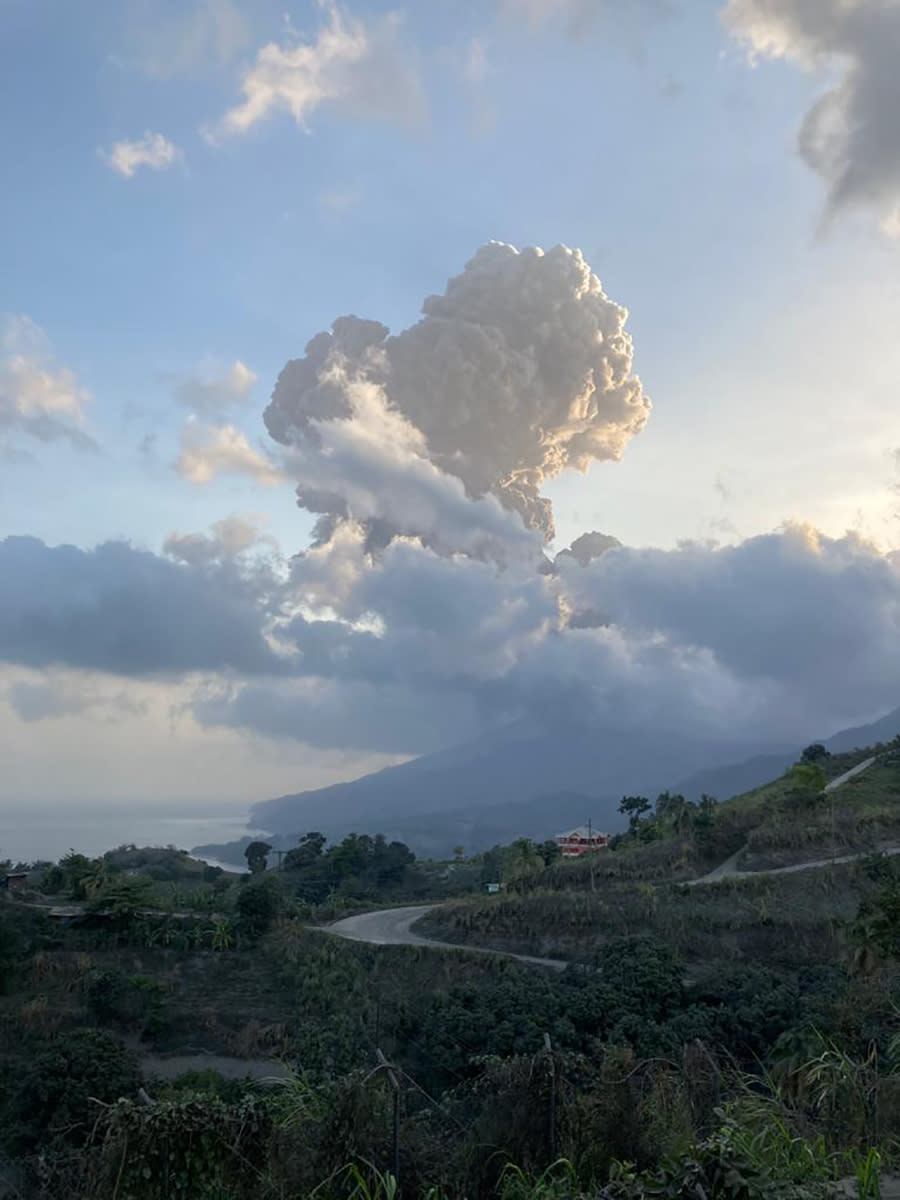 Plumes of ash rise from the La Soufriere volcano on the eastern Caribbean island of St. Vincent, Friday, April 16, 2021. (Vincie Richie/The University of the West Indies Seismic Research Centre via AP)