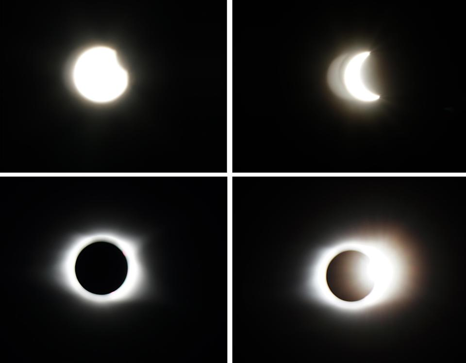 Even my SLR with a solar filter captured only the roughest idea of the eclipse. Remember: The sky was deep blue, not black.