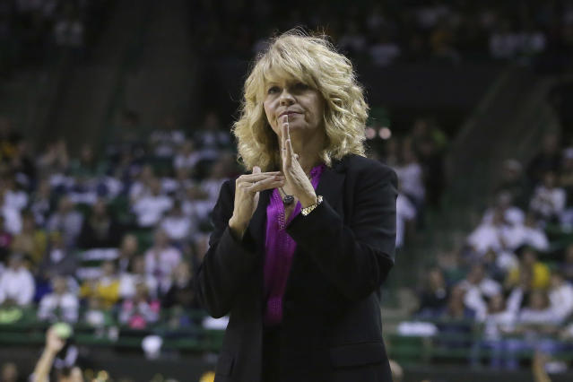 Oklahoma head coach Sherri Coale calls a timeout in the first half of an NCAA college basketball game against Baylor, Saturday, Feb. 22, 2020, in Waco, Texas. (AP Photo/Jerry Larson)