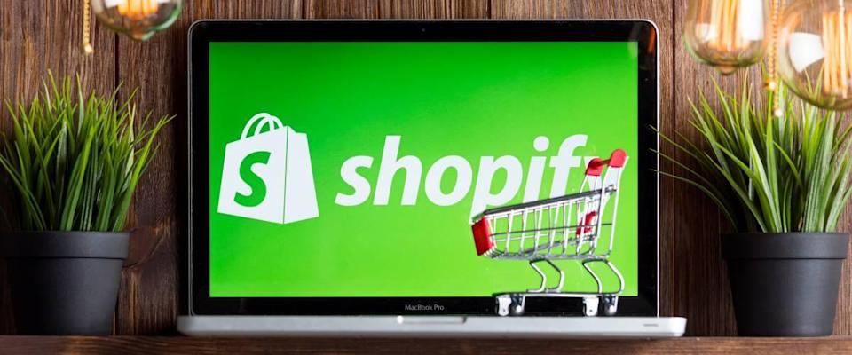 Shopify on the laptop screen isolated.