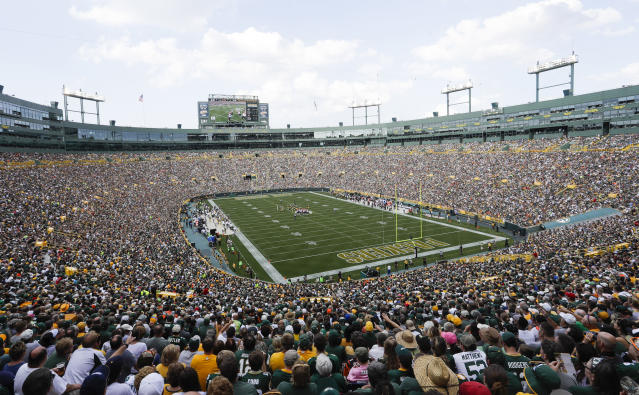 FILE - In this Sept. 24, 2017, file photo, Lambeau Field is seen during the first half of an NFL football game between the Green Bay Packers and the Cincinnati Bengals, in Green Bay, Wis. Opened in 1957 and eventually named for the famed franchises first head coach, Lambeau Field was considered the NFLs first football-specific facility. (AP Photo/Morry Gash, File)
