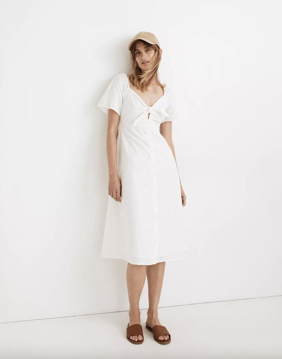 <p>This <span>Madewell Eyelet Tie-Front Midi Dress</span> ($100, originally $148) has an airy, flirty silhouette that'll work for both the office and brunch. We love the eyelet lace material, which gives it a dainty feel.</p>
