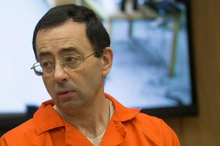 Former USA Gymnastics doctor Larry Nassar appears in court for his final sentencing phase in Michigan in February 2018