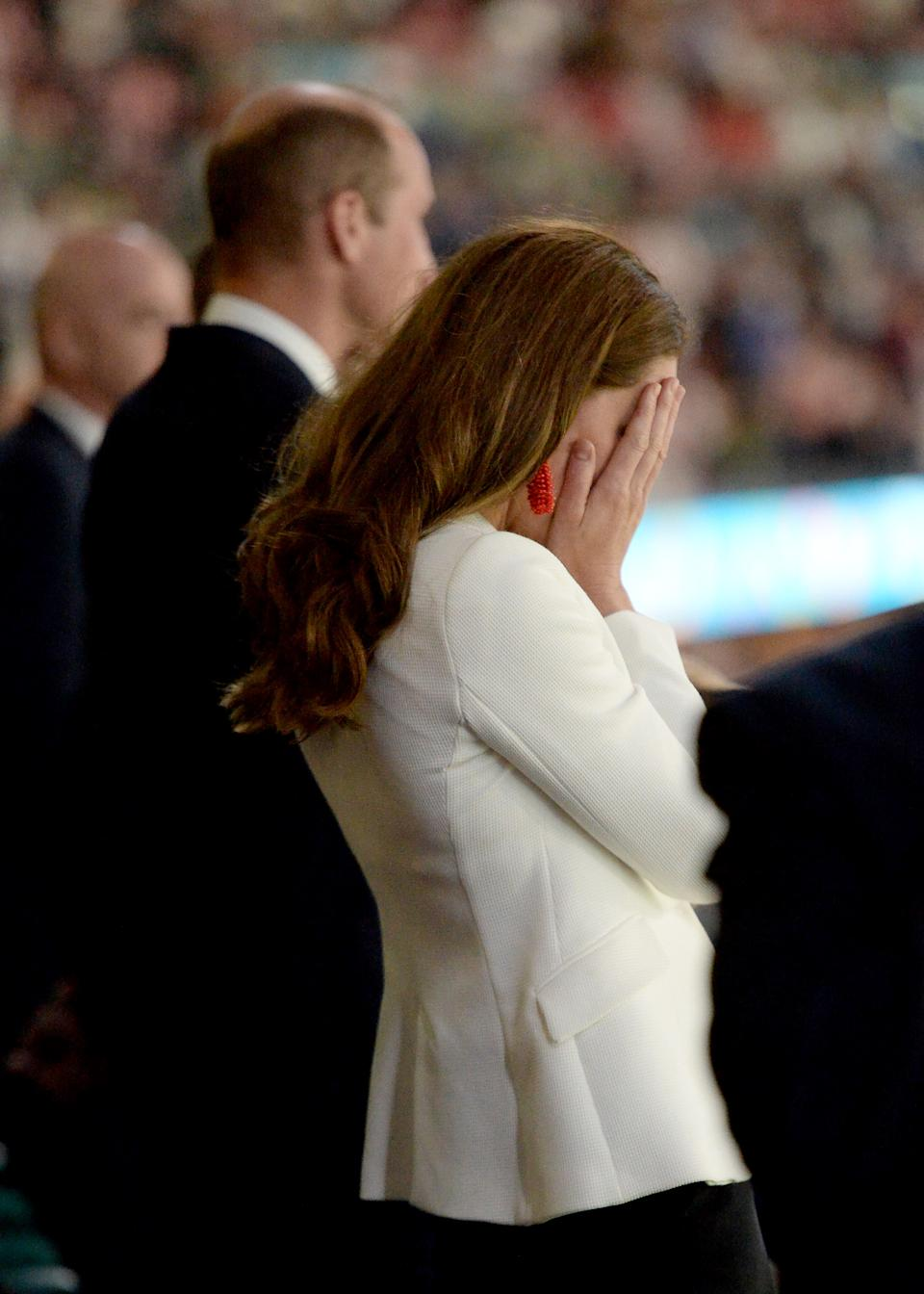 LONDON, ENGLAND - JULY 11: Catherine, Duchess of Cambridge shows her dejection at the end of the UEFA Euro 2020 Championship Final between Italy and England at Wembley Stadium on July 11, 2021 in London, England. (Photo by Eamonn McCormack - UEFA/UEFA via Getty Images)