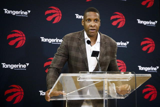 "<a class=""link rapid-noclick-resp"" href=""/nba/teams/tor"" data-ylk=""slk:Toronto Raptors"">Toronto Raptors</a> NBA basketball team president Masai Ujiri speaks at a media availability in Toronto, Friday, July 20, 2018. (Mark Blinch/The Canadian Press via AP)"