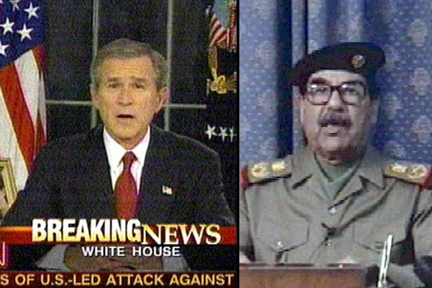 "US President George W. Bush and Iraqi President Saddam Hussein addressing their nations in speeches broadcast around the world 20 March 2003. The United States launched war on Iraq Thursday in a bid to topple Saddam, who defied a US deadline to step down from power. Bush said from the White House: ""On my order, coalition forces have begun striking selected targets of military importance to undermine Saddam Husseine's ability to wage war,"" while Saddam condemned the attack as ""a crime against humanity""."