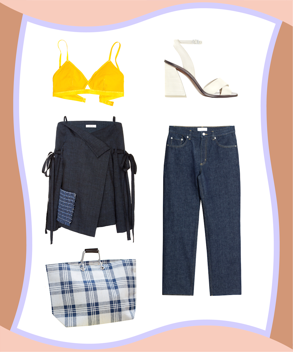 "<p>By now, you've probably accumulated a fair amount of off-the-shoulder tops (or even jackets!), but realize that a strapless bra is not the only option to wear with the trend. Instead, try a bold, contrasting bralette and let it peek out at the top. Finish off this new twist on the Canadian tuxedo with a crisp-white heel and bag that's almost <em>too</em> chic.</p><p><strong>Madewell</strong> Eliza Cut-out Bralette, $28, available at <a href=""https://www.madewell.com/newarrivals/intimatespajamas/PRDOVR~G1233/G1233.jsp?color_name=mystic-yellow"" rel=""nofollow noopener"" target=""_blank"" data-ylk=""slk:Madewell"" class=""link rapid-noclick-resp"">Madewell</a>; <strong>& Other Stories</strong> Raw Edge Jeans, $85, available at <a href=""http://www.stories.com/gb/Ready-to-wear/Trousers_Shorts/Relaxed-Fit_Raw_Edge_Jeans/582932-0480273001.2"" rel=""nofollow noopener"" target=""_blank"" data-ylk=""slk:& Other Stories"" class=""link rapid-noclick-resp"">& Other Stories</a>; <strong>The Frankie Shop</strong> Blue & White Plaid Nylon Bag, $119, available at <a href=""https://thefrankieshop.com/collections/accessories/products/blue-white-checked-nylon-bag"" rel=""nofollow noopener"" target=""_blank"" data-ylk=""slk:The Frankie Shop"" class=""link rapid-noclick-resp"">The Frankie Shop</a>; <strong>Mercedes Castillo</strong> Alisanne, $450, available at <a href=""https://www.mercedescastillo.com/Alisanne/MC-ALISANNE,default,pd.html?dwvar_MC-ALISANNE_colormaterial=111%20GRCNPC&cgid=shoes-mc#gclid=CK_C75qTi9MCFdSPswodm4wJlQ&start=1"" rel=""nofollow noopener"" target=""_blank"" data-ylk=""slk:Mercedes Castillo"" class=""link rapid-noclick-resp"">Mercedes Castillo</a>; <strong>Adeam</strong> Off-The-Shoulder Linen Jacket, $895, available at <a href=""https://www.modaoperandi.com/adeam-r17/off-the-shoulder-linen-jacket?utm_source=polyvore&utm_medium=cpc&utm_campaign=jackets"" rel=""nofollow noopener"" target=""_blank"" data-ylk=""slk:Moda Operandi."" class=""link rapid-noclick-resp"">Moda Operandi.</a></p>"