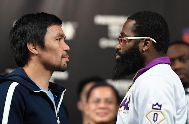 Manny Pacquiao and Adrien Broner face off on Jan. 16, 2019 in Las Vegas. Pacquiao will defend his WBA welterweight title against Broner on Jan. 19 at MGM Grand Garden Arena in Las Vegas. (Ethan Miller/Getty Images)