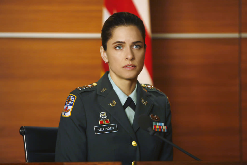 "Amanda Peet as Laura Hellinger, an Army captain who accuses a civilian contractor of attempting to rape her in Afghanistan in ""The Art of War,"" the sixth episode of ""The Good Wife"" Season 4."