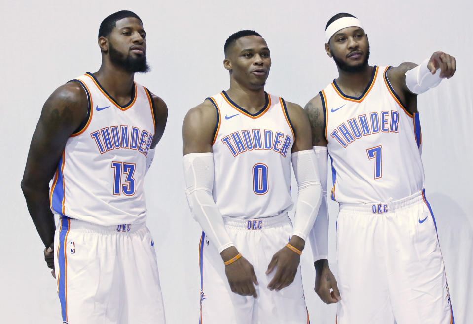 """The <a class=""""link rapid-noclick-resp"""" href=""""/nba/teams/okc/"""" data-ylk=""""slk:Oklahoma City Thunder"""">Oklahoma City Thunder</a> have their new Big Three. Can they reach greater heights than the previous version? (AP)"""