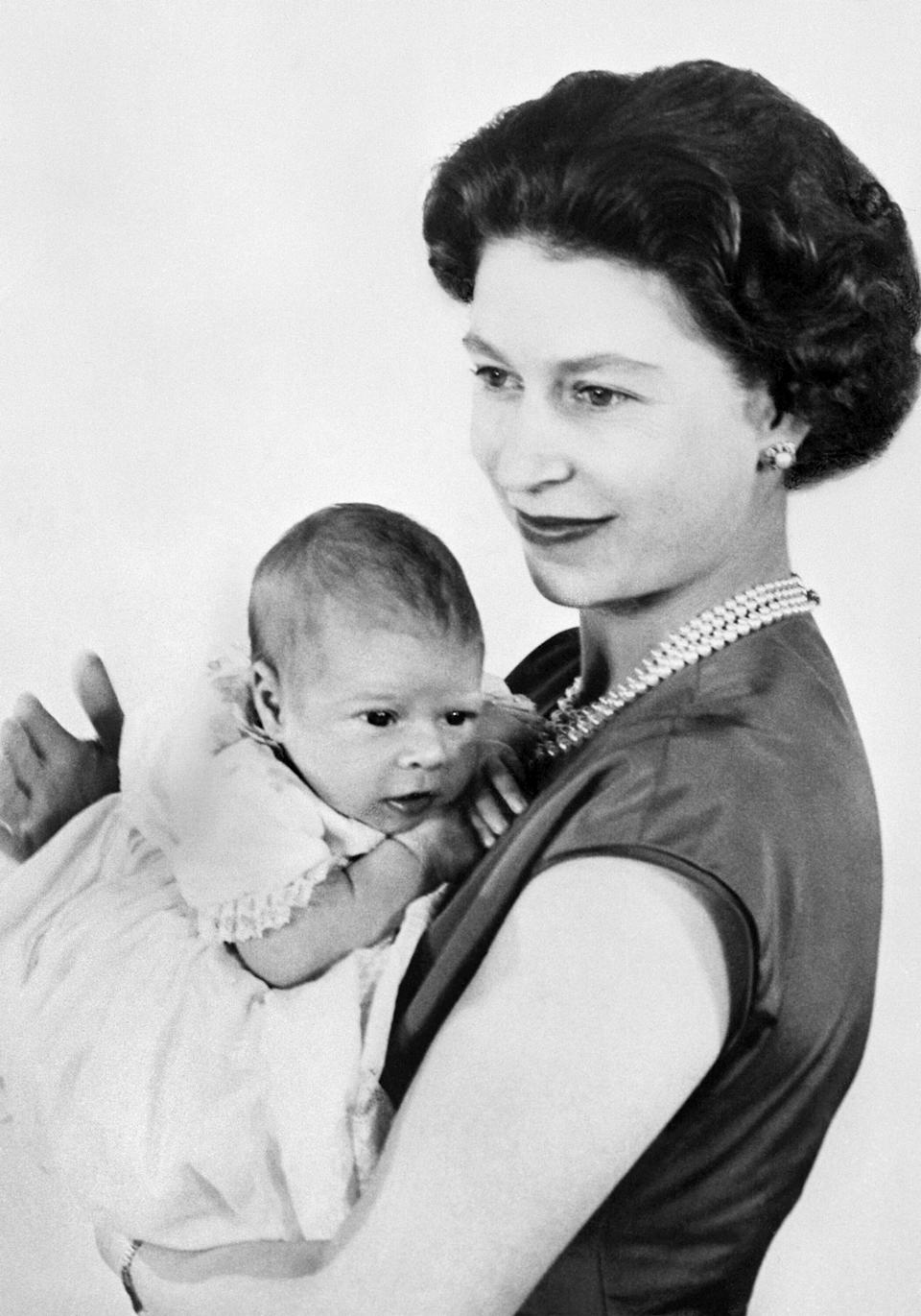 One of the first pictures of the newborn Prince Andrew. The prince was born Feb. 19, 1960.