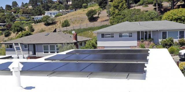 This undated product image provided by Solaria Corp. shows a home with solar panels installed. (Ed Matney/Solaria Corp. via AP)
