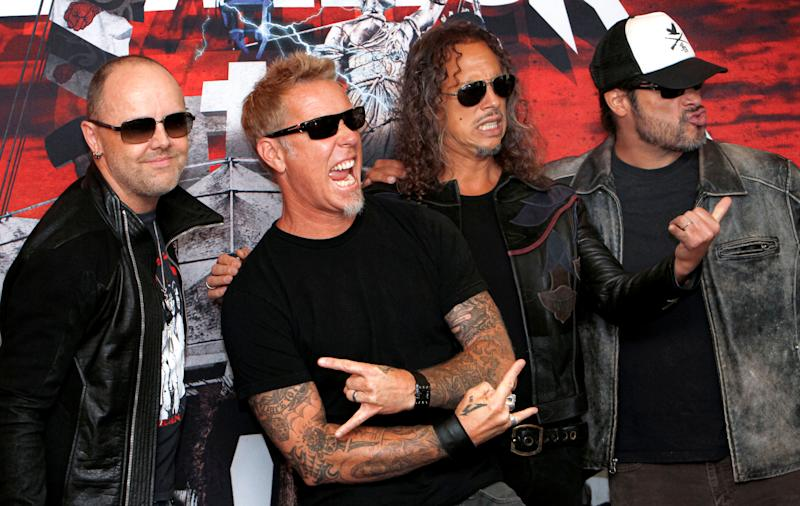 Members of the band Metallica, from left to right: Lars Ulrich, James Hetfield, Kirk Hammett and Robert Trujillo. They donated $750,000 to fight the fires in Australia. (Photo: ASSOCIATED PRESS)