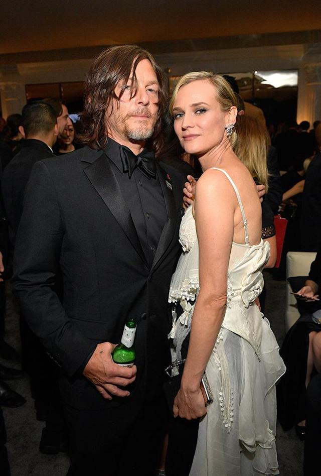 "<p>The couple, who <a href=""https://www.yahoo.com/lifestyle/smooch-diane-kruger-norman-reedus-finally-make-official-2018-golden-globes-034413072.html"" data-ylk=""slk:took their romance public at the Golden Globes with a kiss;outcm:mb_qualified_link;_E:mb_qualified_link"" class=""link rapid-noclick-resp newsroom-embed-article"">took their romance public at the Golden Globes with a kiss</a>, continued to stay close at the 2018 InStyle and Warner Bros. party. (Photo: Matt Winkelmeyer/Getty Images for InStyle) </p>"