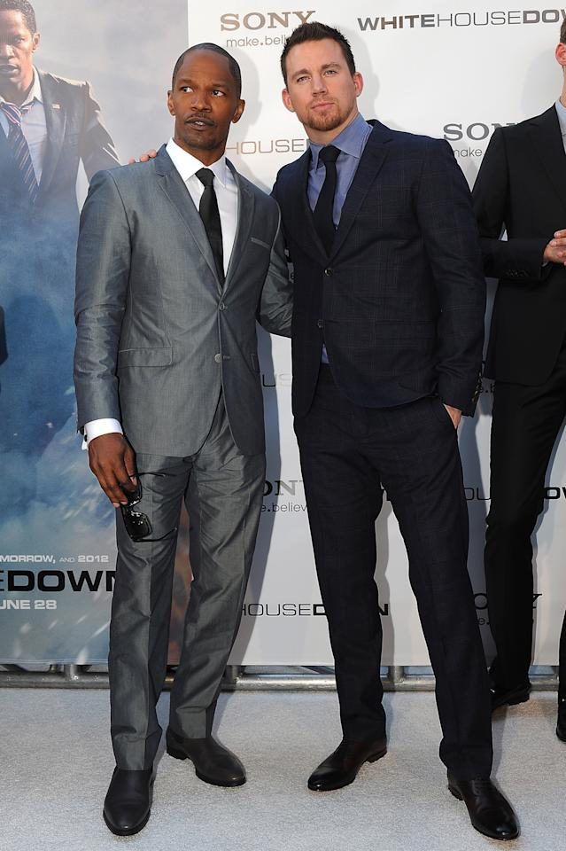 "WASHINGTON, DC - JUNE 21: Jamie Foxx, (L) and Channing Tatum, (R) attend ""White House Down"" Washington DC Premiere at AMC Georgetown on June 21, 2013 in Washington, DC. (Photo by Larry French/Getty Images)"