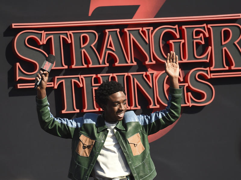 "Caleb McLaughlin arrives at the season three premiere of ""Stranger Things"" at Santa Monica High School on Friday, June 28, 2019, in Santa Monica, Calif. (Photo by Jordan Strauss/Invision/AP)"