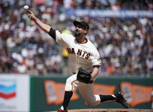 San Francisco Giants pitcher Nick Vincent (61) throws against the New York Yankees in the fifth inning of a baseball game Sunday, April 28, 2019, in San Francisco. (AP Photo/Tony Avelar )
