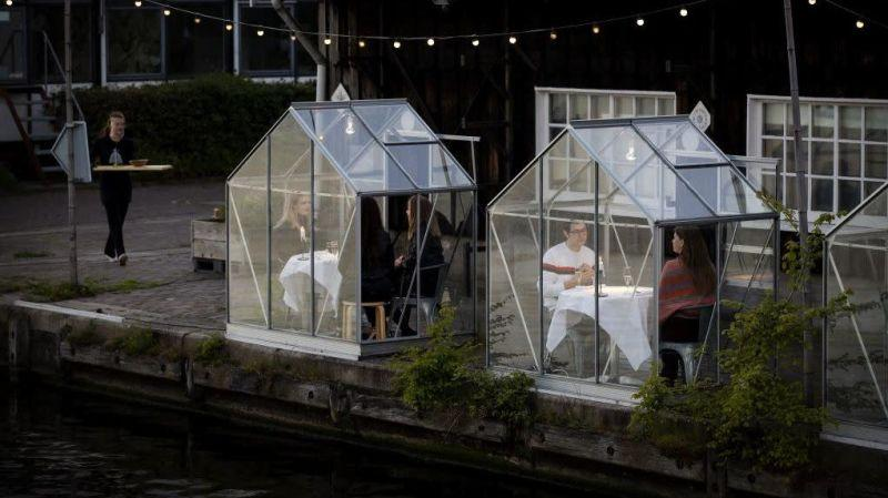 Outdoor greenhouse dining in Amsterdam, May 2020