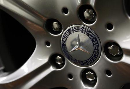 The emblem of German car Mercedes-Benz is pictured on the wheel rim of a Mercedes-Benz S-class at plant in Sindelfingen