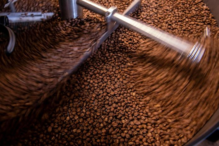 Coffee beans are roasted at Caphe Roasters in Philadelphia, Pa.
