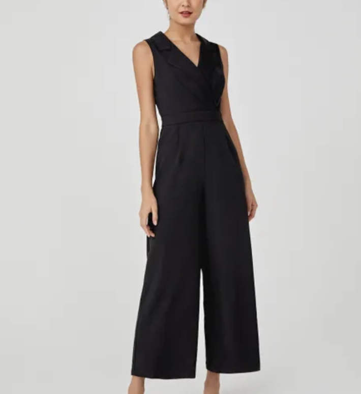 Reine tuxedo wide-leg jumpsuit, S$59.90. PHOTO: Love, Bonito