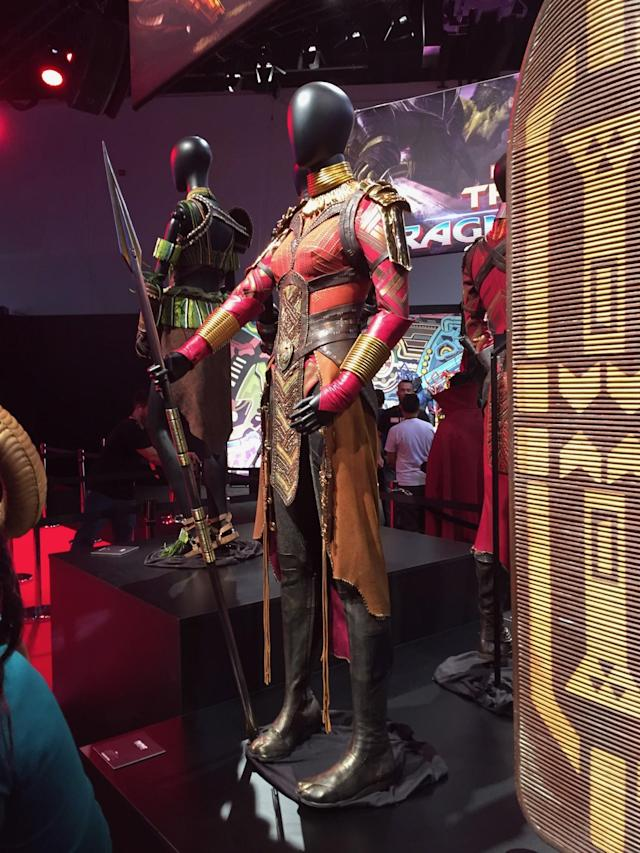 <p>Okoye (Danai Gurira) is a member of T'Challa's all-female special forces group, Dora Milaje. (Photo: Marcus Errico/Yahoo Movies) </p>