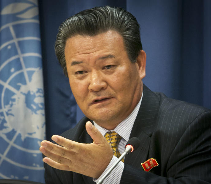 Sin Son Ho, Permanent Representative for North Korea to the U.N., speak during a press conference on Friday, June 21, 2013 at U.N. headquarters in New York. (AP Photo/Bebeto Matthews)