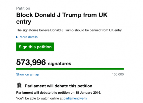 The petition to ban Donald Trump.