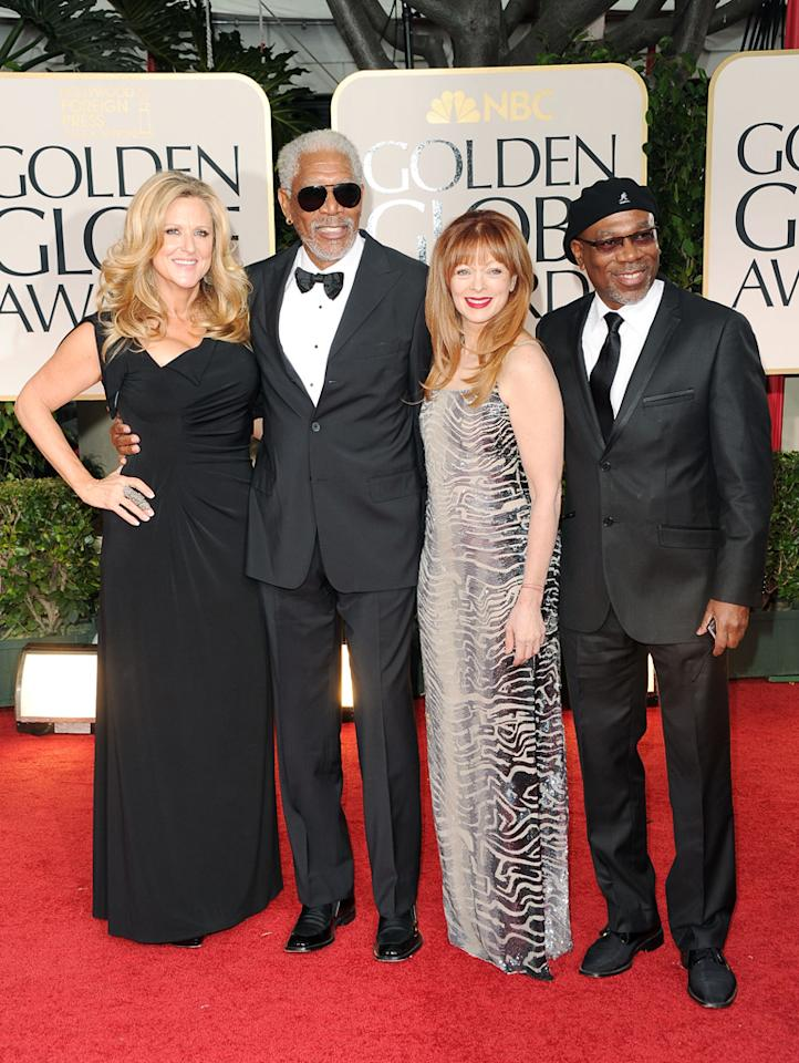 Lori McCreary, Morgan Freeman, Larcenia Letice and Alfonso Freeman arrive at the 69th Annual Golden Globe Awards in Beverly Hills, California, on January 15.