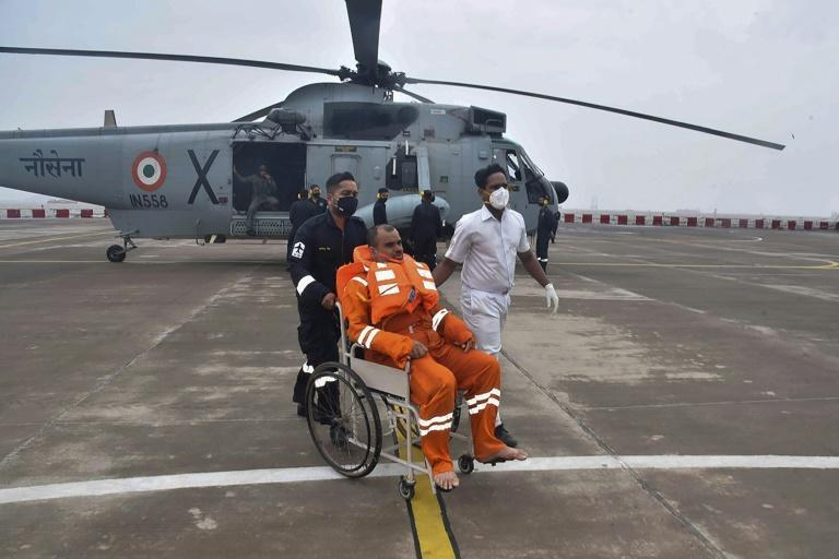 The Indian military has launched search and rescue operations at sea for people missing after the storm hit