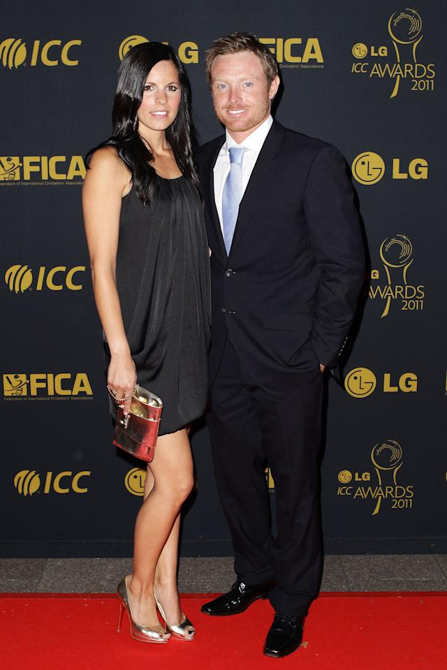 LONDON, ENGLAND - SEPTEMBER 12:  Ian Bell of England and his wife Chantal Bell arrive for the LG ICC Awards at The Grosvenor House Hotel on September 12, 2011 in London, England.  (Photo by Brendon Thorne/Getty Images)
