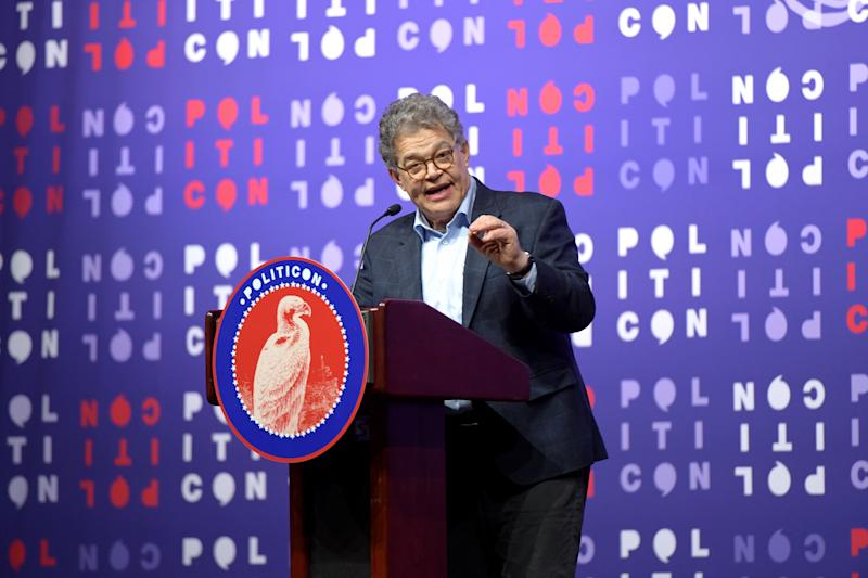 NASHVILLE, TENNESSEE - OCTOBER 26: Al Franken speaks onstage during the 2019 Politicon at Music City Center on October 26, 2019 in Nashville, Tennessee. (Photo by Jason Kempin/Getty Images for Politicon )