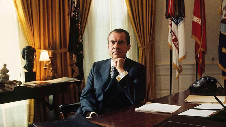 Former US president Richard Nixon in the Oval Office in the 1970s.