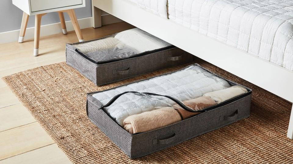 Squared Away™ Arrow Weave Underbed Bags in Grey - Bed Bath & Beyond, $35