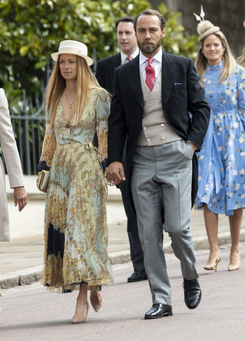 WINDSOR, ENGLAND - MAY 18: James Middleton and Alizee Thevenet attend the wedding of Lady Gabriella Windsor and Mr Thomas Kingston at St George's Chapel, Windsor Castle on May 18, 2019 in Windsor, England. (Photo by Mark Cuthbert/UK Press via Getty Images)
