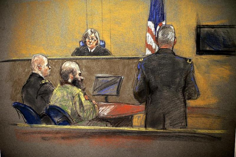 In this courtroom sketch, Maj. Nidal Hasan, center, sits before the judge, U.S. Army Col. Tara Osborn, during the sentencing phase of his trial, Monday, Aug. 26, 2013, in Fort Hood, Texas. The jury found Hasan unanimously guilty on the 13 charges of premeditated murder in the 2009 Fort Hood shootings and he is eligible for the death penalty. (AP Photo/Brigitte Woosley)