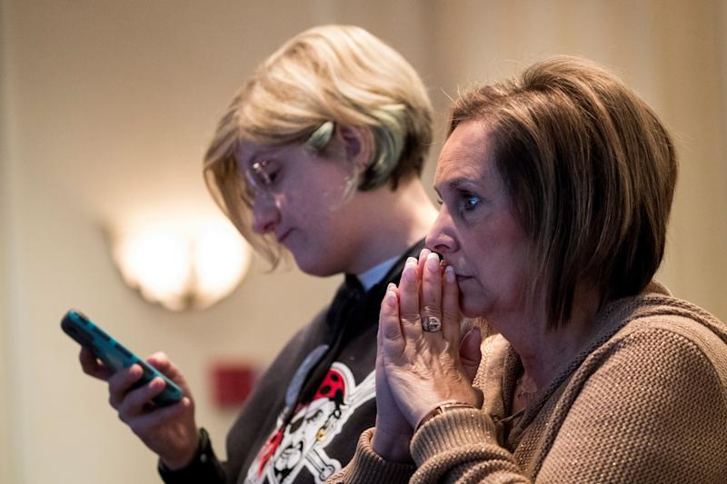 Supporters monitor election returns for Conor Lamb, the Democratic congressional candidate for Pennsylvania's 18th District, on Tuesday night in Canonsburg, Pennsylvania.