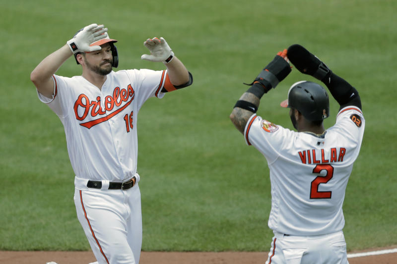Baltimore Orioles' Trey Mancini, left, is greeted at home plate by Jonathan Villar after hitting a two-run home run off Boston Red Sox starting pitcher Andrew Cashner that scored them during the third inning of a baseball game, Sunday, July 21, 2019, in Baltimore. (AP Photo/Julio Cortez)