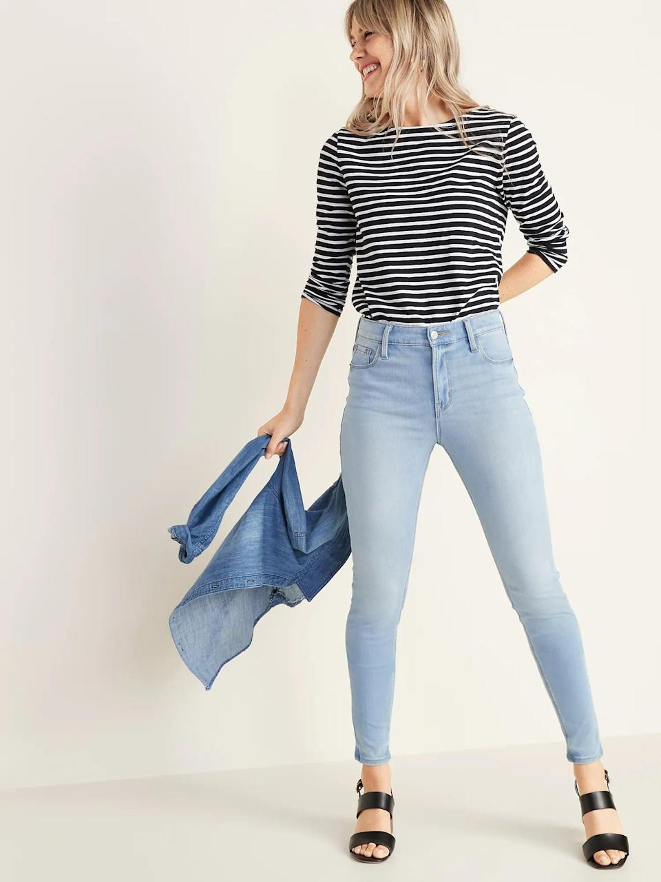 """<p>""""I've had these <span>Old Navy High-Waisted Rockstar 24/7 Sculpt Super Skinny Jeans</span> ($25, originally $50) for about a year and they have quickly become my favorite pair to throw on with an oversized t-shirt (tucked in), my favorite blouse, or even a hoodie. The light wash makes them perfect for wearing year-round and I love that they're so easy to pair with a belt, boots, sneakers, and more. I could lounge (and have) around in these all day and I would definitely recommend investing in a pair if you're looking for go-to jeans to match your wardrobe every season."""" - Chanel Vargas, editorial assistant, Trending &amp; Viral Features</p>"""