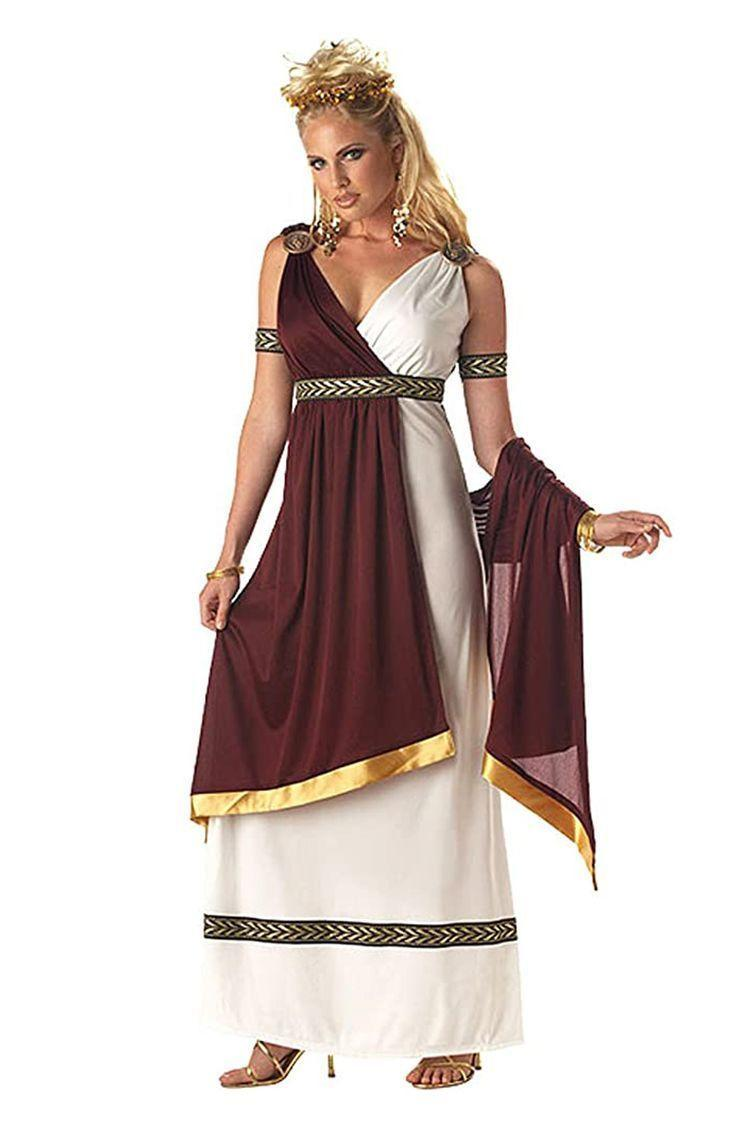 """<p><strong>California Costumes</strong></p><p>amazon.com</p><p><a href=""""https://www.amazon.com/dp/B003Y3BG76?tag=syn-yahoo-20&ascsubtag=%5Bartid%7C2141.g.33469434%5Bsrc%7Cyahoo-us"""" rel=""""nofollow noopener"""" target=""""_blank"""" data-ylk=""""slk:Shop Now"""" class=""""link rapid-noclick-resp"""">Shop Now</a></p><p>If you're prioritizing comfort even more now that you're pregnant, we hear you. This Roman Empress costume will show everyone what a goddess you are while also giving you enough material for a relaxed fit. All you need to do is weave together some <a href=""""https://www.amazon.com/Hicdaw-Cleaners-PipeCleaners-Including-Decorations/dp/B083TM53RT/?tag=syn-yahoo-20&ascsubtag=%5Bartid%7C2141.g.33469434%5Bsrc%7Cyahoo-us"""" rel=""""nofollow noopener"""" target=""""_blank"""" data-ylk=""""slk:gold pipe cleaners"""" class=""""link rapid-noclick-resp"""">gold pipe cleaners </a>for an easy DIY crown. </p>"""