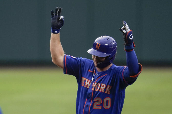 New York Mets' Pete Alonso gestures while running the bases after hitting a two-run home run off Baltimore Orioles starting pitcher Matt Harvey during the first inning of a baseball game, Wednesday, June 9, 2021, in Baltimore. Mets' Francisco Lindor scored on the home run. (AP Photo/Julio Cortez)