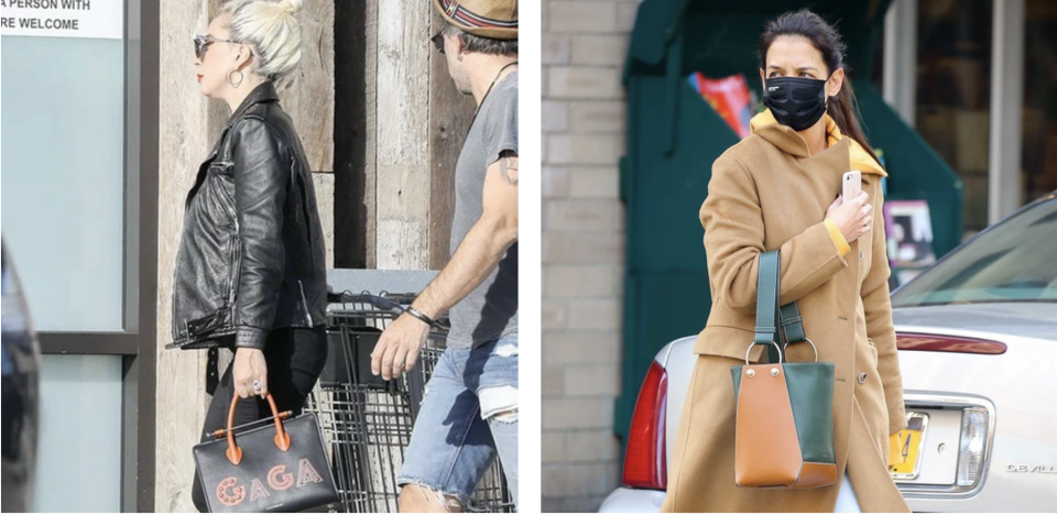 PHOTO: Strathberry. Lady Gaga and Katie Holmes toting Strathberry handbags