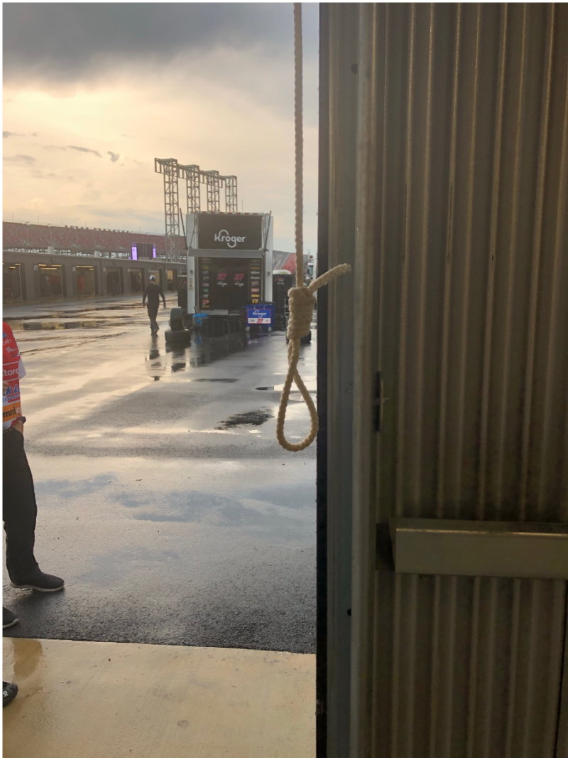 The noose that was found in Bubba Wallace's garage stall. (via NASCAR)